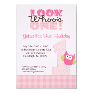 Pink Owl Large Number One 1st Birthday Invitation