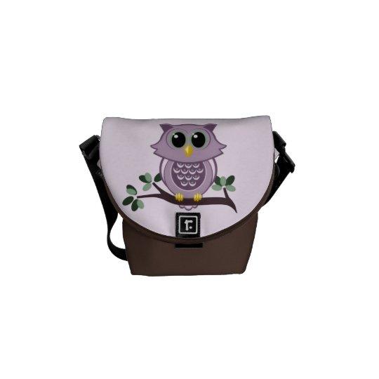 Pink Owl Mini Messenger Bag