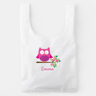 Pink Owl on a Branch personalized Reusable Bag