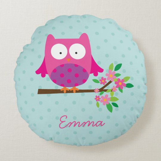 Pink Owl on a Branch Personalized Round Pillow