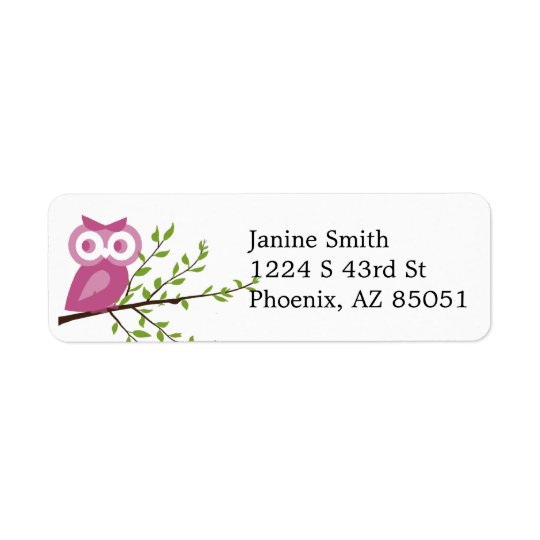 Pink Owl on Branch Return Address Label