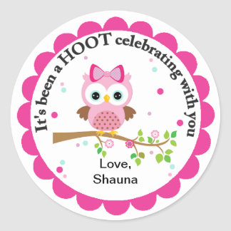 Pink Owl Party Thank You Round Sticker