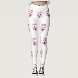 Pink Owl Pattern Women's Leggings