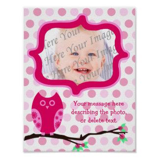 Pink Owl Personalized Scrapbook Page Poster