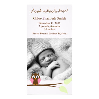 Pink Owl Photo Birth Announcements Personalized Photo Card