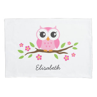 Pink owl pillowcase