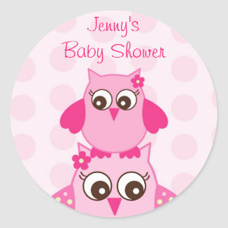 Pink Owl Polka Dots Favor Stickers Envelope Seals