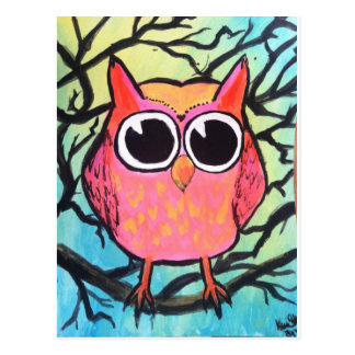 Pink Owl Postcard