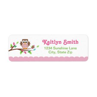 Pink Owl Return Address Label