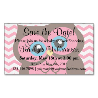 Pink Owl Save the Date Baby Shower Magnetic Card