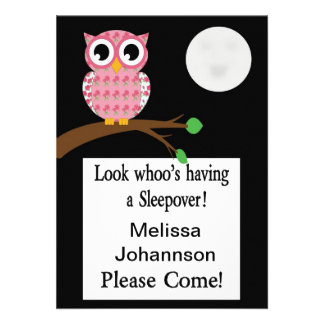 Pink Owl Sleepover Invitation - customize
