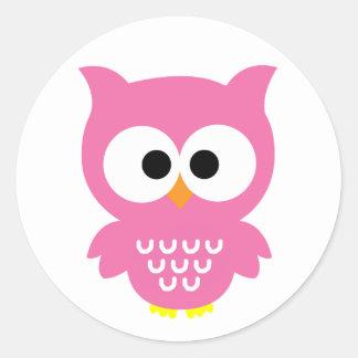 Pink owl stickers! round sticker