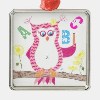 Pink owl teacher premium ornament .