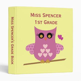 Pink Owl Teacher's Grade Book Binder