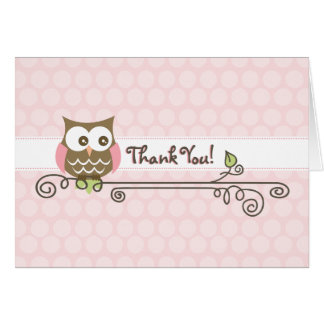 Pink Owl Thank You Card