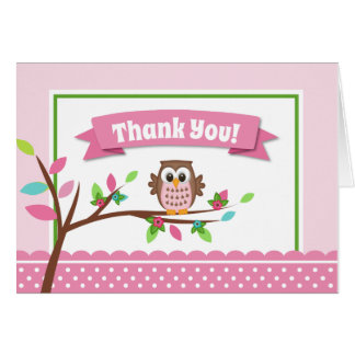 Pink Owl Thank You Card Folded Note Card