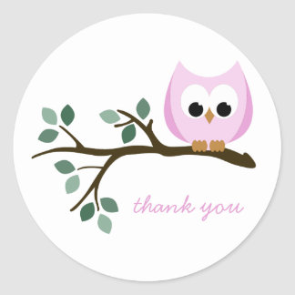 Pink Owl Thank You Stickers