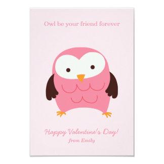 "Pink Owl Valentines 3.5"" X 5"" Invitation Card"