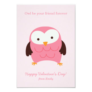 Pink Owl Valentines Card