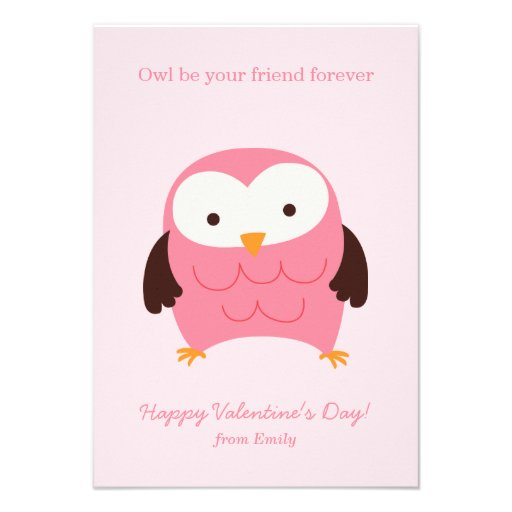 Pink Owl Valentines Personalized Announcement