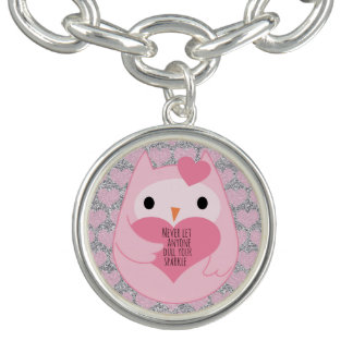 Pink Owl with Silver Sparkles and Quote Charm Bracelet