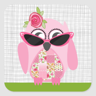 Pink Owl With Sunglasses Sticker