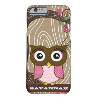 Pink Owl Wood Grain Tree Zig Zag Choose Colors Barely There iPhone 6 Case