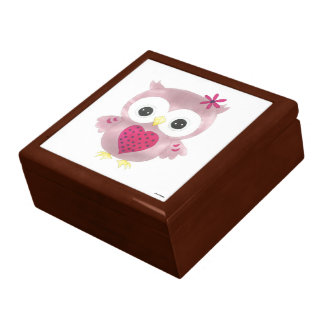 Pink Owl Wooden Oak Keepsake Box