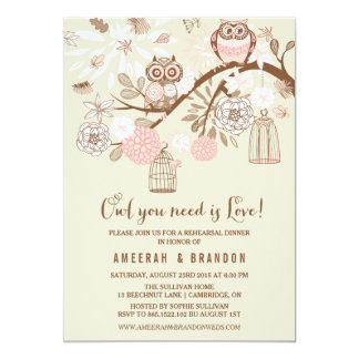 Pink Owls & Birdcages Rehearsal Dinner Invitation