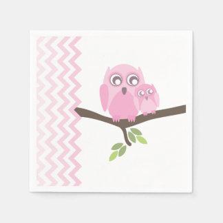 Pink Owls + Chevron Girl Baby Shower Napkins Disposable Napkins