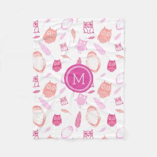 Pink Owls Feathers Pattern Monogram Blanket