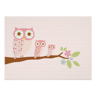 Pink Owls in a Row canvas/print Poster