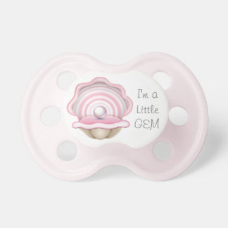 "Pink Oyster with Pearl ""I'm a Little Gem"" Pacifier"