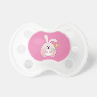 Pink Pacifier with Bunny and Flower