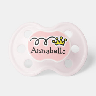 Pink pacifier with name and crown