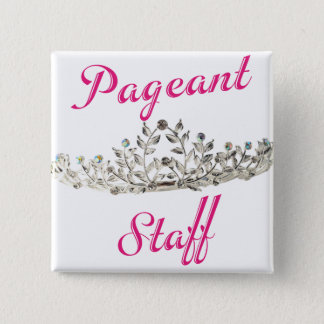 Pink Pageant Staff 2 Inch Square Button