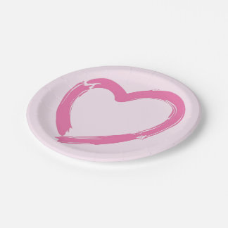 PINK PAINT BRUSH HEART PAPER PLATE