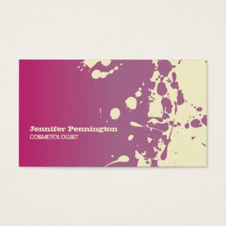 Pink paint splatter cosmetologist business card