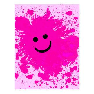 PINK PAINT SPLATTERED SMILEY FACE POSTCARD