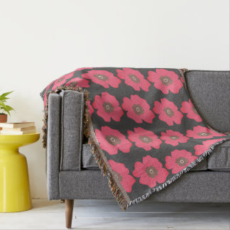 Pink Paint Whimsical Flower Throw Blanket