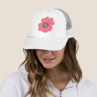 Pink Paint Whimsical Flower Trucker Hat