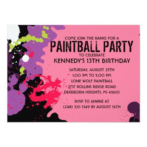 "Pink Paintball Splatter Paintball Birthday Party 5.5"" X 7.5"" Invitation Card"