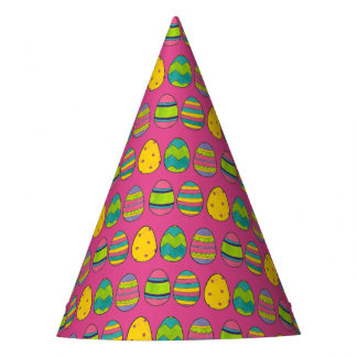 Pink Painted Colorful Easter Basket Egg Hunt Eggs Party Hat