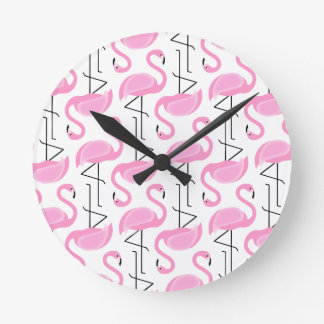 Pink Painted Flamingo Pattern Wall Clocks