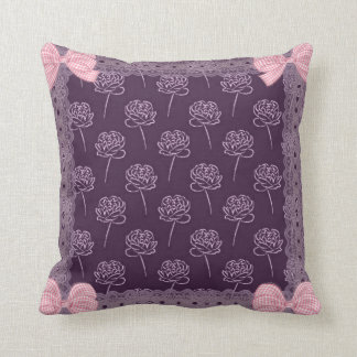 Pink paionias with embroiders, bows of Vichy, Throw Pillow