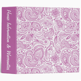 Pink Paisley Binder - Customize with Name or Text