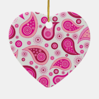 Pink Paisley Ceramic Heart Ornament