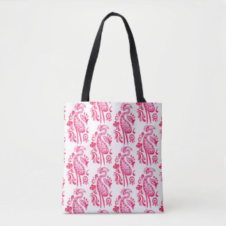 Pink Paisley Flamingo Tote Bag