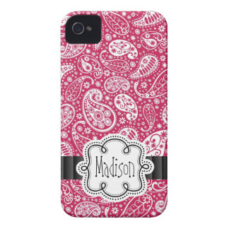 PINK Paisley Girly Pattern with Name iPhone 4 Case