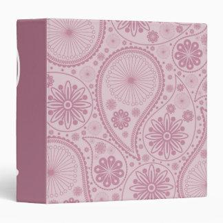 Pink paisley pattern 3 ring binders